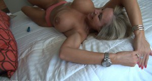 Busty housewife performs a blowjob with ball licking and tastes a cumshot