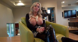 Steamy mature vixen in thigh latex boots revealing her gorgeous big tits
