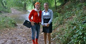 Kinky fetish ladies make some wet and messy fully clothed action outdoor