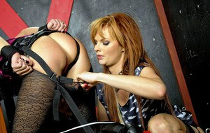 Sassy european fetish ladies have some kinky clothed lesbian fun with vibrators