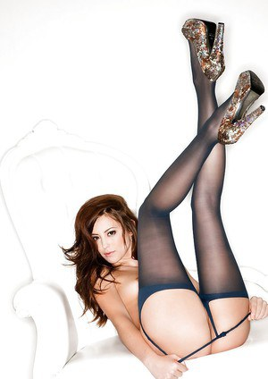 Admirable sweetie Megan Medellin poses wearing only sexy pantyhose