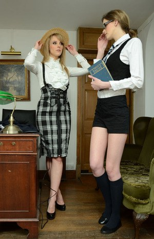 Admirable schoolgirl changing her clothes with witness of her hot teacher