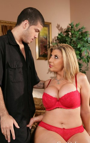 Curvy cougar Sara Jay gets fucked and milks a big boner with her huge jugs