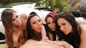 Four ravishing MILFs have a passionate groupsex with a hung guy outdoor