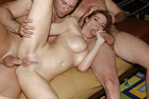 Horny big busted MILF enjoys a threesome with double penetration
