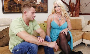 Lewd MILF Alura Jenson fucks a younger lad and gets her huge jugs jizzed