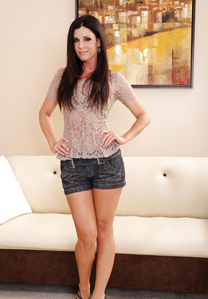 Svelte MILF India Summer undressing and teasing her gash with her fingers