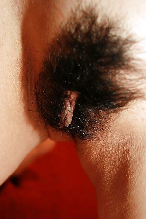 Asian lady Asami Usui undressing and exposing her hairy pussy in close up
