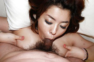 Fatty asian MILF Kana Miyagi gets her hairy pussy shagged and creampied