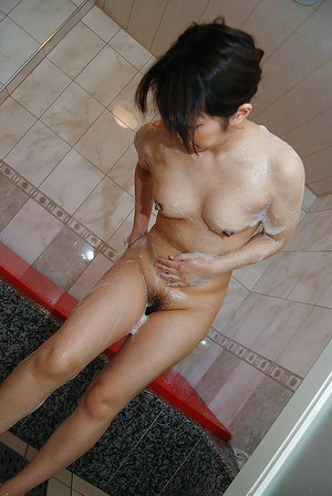 Lovely asian MILF with tiny tits Kozue Marui taking shower and bath