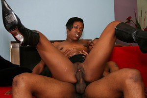 Wild ebony slut Diva Devine gobbles and fucks a big black tool