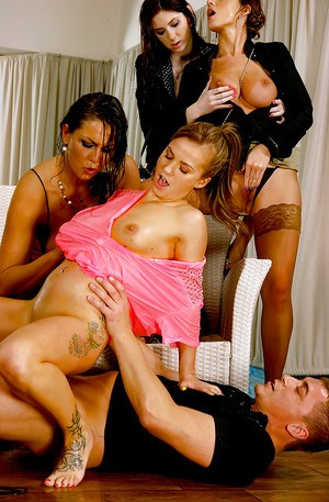 European MILFs enjoy partly clothed reverse gangbang pissing action