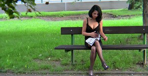 Filthy brunette gives head and gets pissed on in POV style outdoor