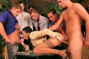 European slut gets glazed with jizz after fervent clothed gangbang action