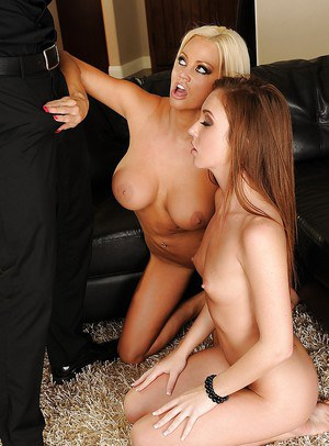 Horny hotties have some lesbian fun turning into FFM groupsex with a hung lad