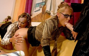 Kinky european ladies have some messy fun with a fake cock and jizz