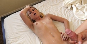 Slippy girlfriend gets fucked and jizzed over her belly in POV style