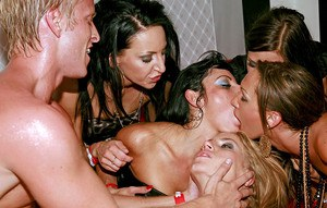 Lascivious european gals enjoy reverse gangbang with a lucky guy