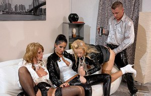European lesbians have slimy fully clothed threesome using fake cock and jizz