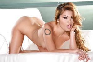 Petite asian babe Charmane Star taking off her tiny dress and posing nude