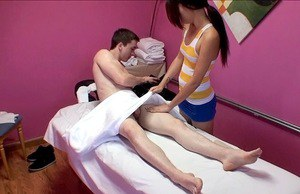 Lovely asian masseuse teases her client and gets shagged hard