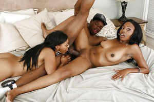 Sensuous ebony chicks sharing a fat black boner and a creamy cumshot