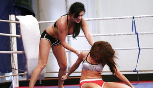 Stunning knockouts have a rough catfight ending up with pussy licking action