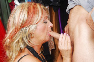 Filthy granny blows and fucks a young cock for a cumshot in her mouth
