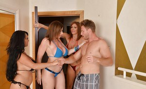 Curvaceous cougars have a fervent foursome with a lucky guy