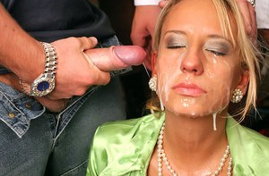 European slut gets her face covered with jizz at the gangbang party