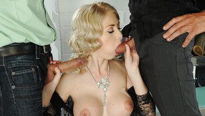 Busty blonde temptress gets her ashole stretched with two hard dicks