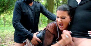 Celine Noiret gets involved into fervent partly clothed threesome outdoor