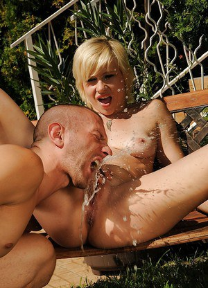 Kinky european blondie enjoys hard twatting mixed with pissing outdoor