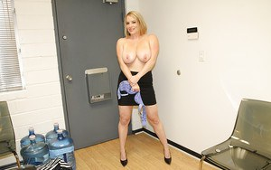 Alluring blonde MILF slowly uncovering her wooing all natural curves