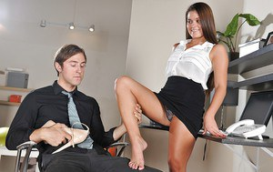 Sexy office girl has some hard foot fetish fun ending with cum on her feet