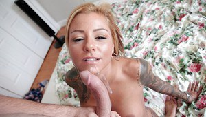 Tattooed vixen with pierced clit gets fucked and jizzed over her big boobs