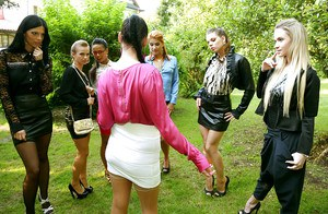 Kinky european ladies have some fully clothed pissing fun outdoor