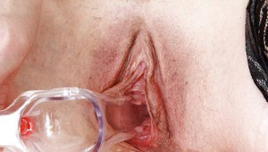 Filthy mature nurse in glasses stuffing her twat with toys and gyno tools