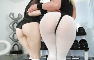 Tempting blonde chicks revealing their sexy curves and chery holes