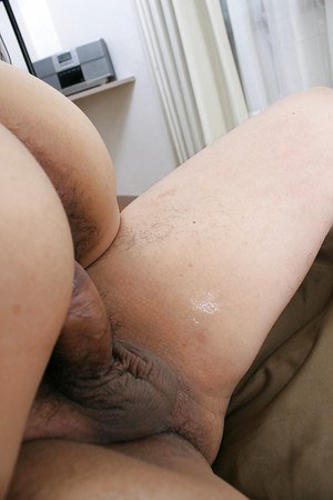 Saucy asian mature slut gives head and gets her shaggy cunt shafted hard