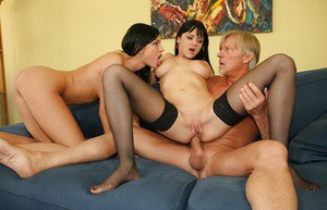 Lustful raven-haired anal sluts sharing a stiff dick and a salty cumshot