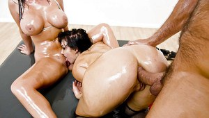 Oiled up bombshells with big butts have a fervent FFM anal threesome
