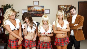 Lewd schoolgirls with big tits have some reverse gangbang fun with a hung guy