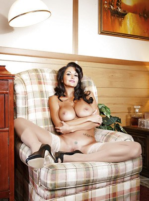 Amazingly sexy brunette MILF getting rid of her dress and lacy lingerie