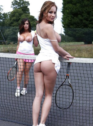 Naughty tennis players revealing their gorgeous big jugs outdoor