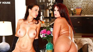 Big busted brunette ladies make some steamy lesbian humping action