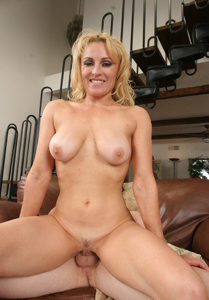 Lustful blonde cougar blows and fucks a stiff cock for mouth full of cum