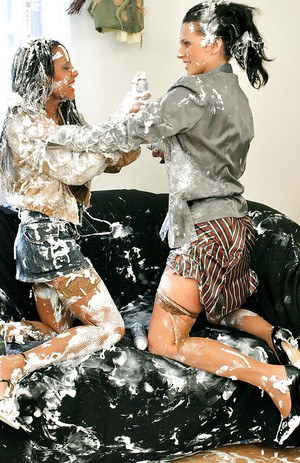 Dirty-minded european ladies have some slimy and messy fully clothed fun