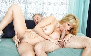 Big busted MILF gets her bushed jizzed after passionate pussy fucking