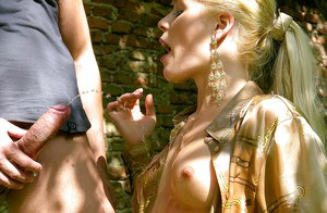 European fashionista enjoys fully clothed sex and gets pissed on outdoor